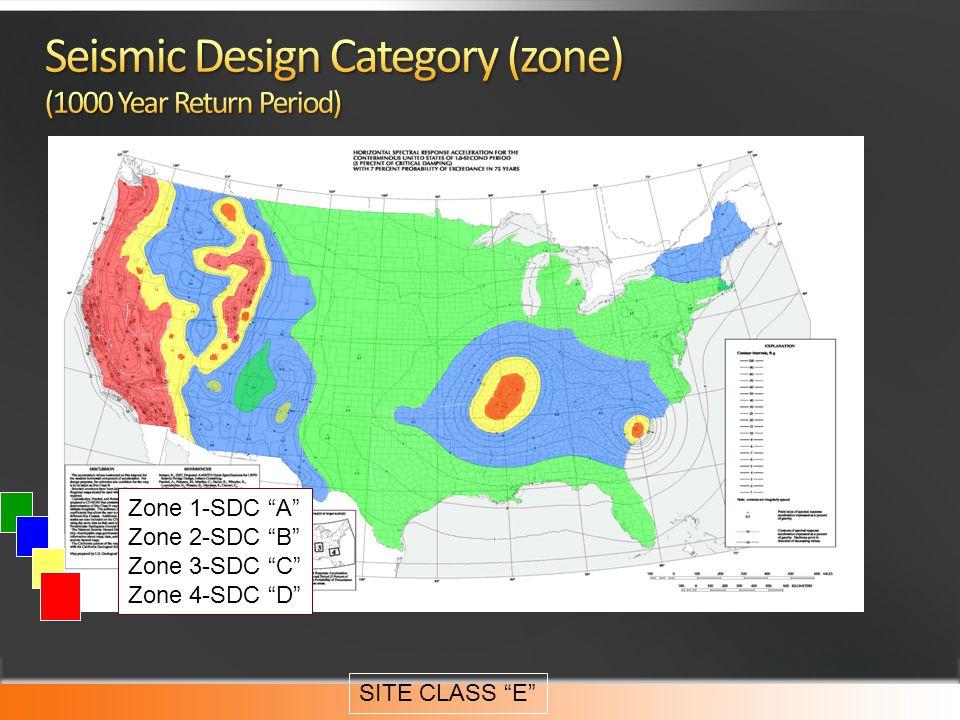 Zone 1-SDC A Zone 2-SDC B Zone 3-SDC C Zone 4-SDC D SITE CLASS E
