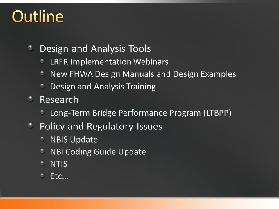 Design and Analysis Tools LRFR Implementation Webinars New FHWA Design Manuals and Design Examples Design and Analysis Training Research Long-Term Bri