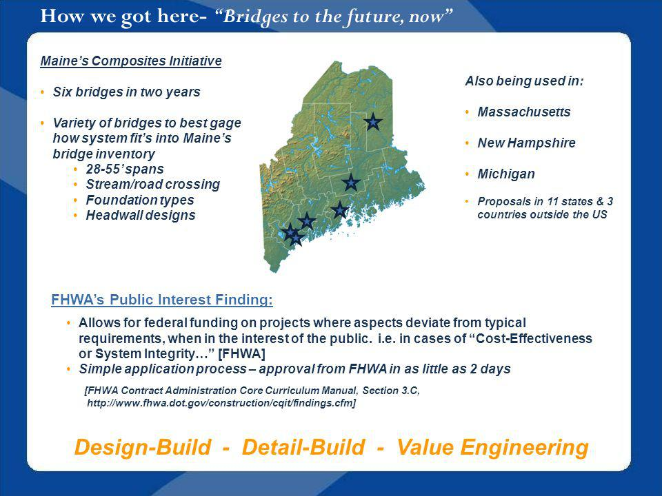 How we got here- Bridges to the future, now FHWAs Public Interest Finding: Allows for federal funding on projects where aspects deviate from typical requirements, when in the interest of the public.