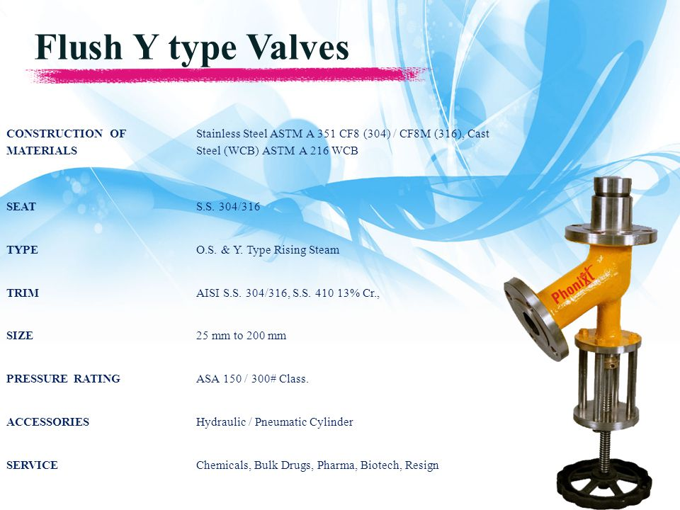 Flush Y type Valves CONSTRUCTION OF MATERIALS Stainless Steel ASTM A 351 CF8 (304) / CF8M (316), Cast Steel (WCB) ASTM A 216 WCB SEATS.S.