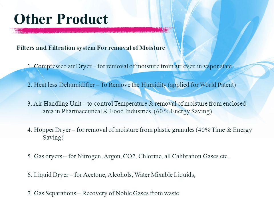 Other Product Filters and Filtration system For removal of Moisture 1.