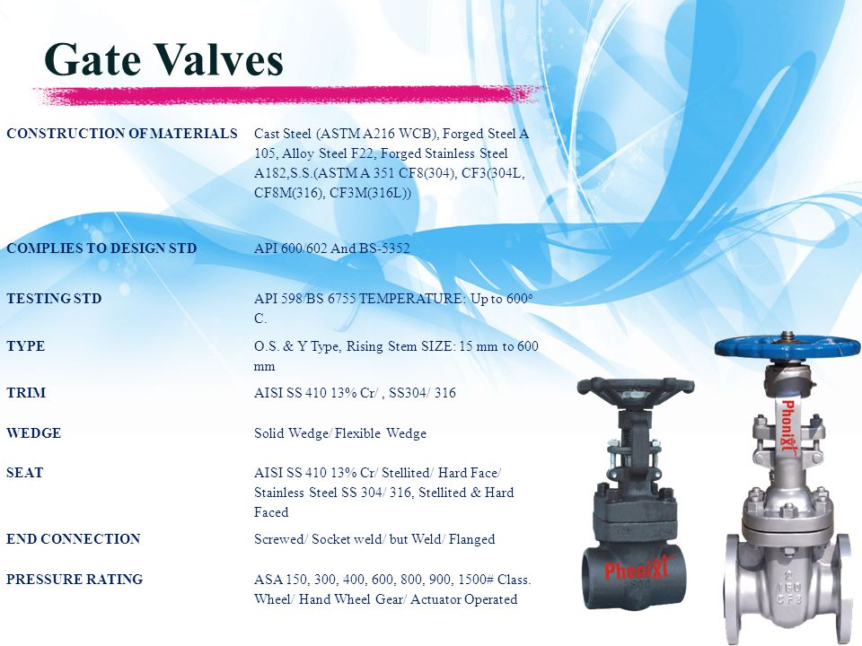 Gate Valves CONSTRUCTION OF MATERIALS Cast Steel (ASTM A216 WCB), Forged Steel A 105, Alloy Steel F22, Forged Stainless Steel A182,S.S.(ASTM A 351 CF8(304), CF3(304L, CF8M(316), CF3M(316L)) COMPLIES TO DESIGN STDAPI 600/602 And BS-5352 TESTING STD API 598/BS 6755 TEMPERATURE: Up to 600 o C.