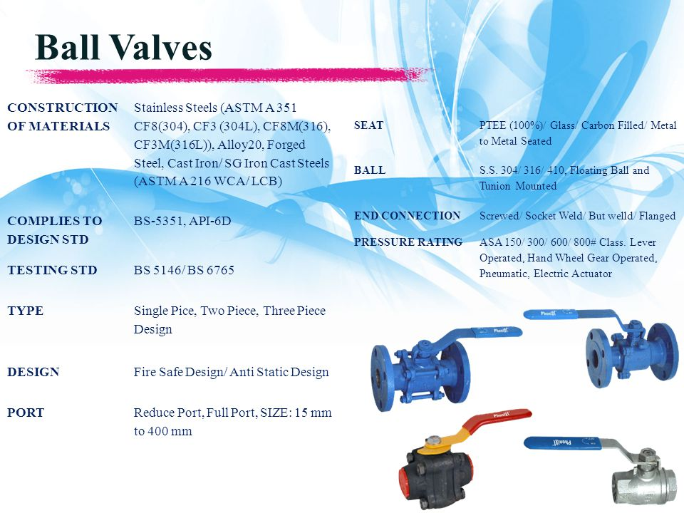 Ball Valves CONSTRUCTION OF MATERIALS Stainless Steels (ASTM A 351 CF8(304), CF3 (304L), CF8M(316), CF3M(316L)), Alloy20, Forged Steel, Cast Iron/ SG Iron Cast Steels (ASTM A 216 WCA/ LCB) COMPLIES TO DESIGN STD BS-5351, API-6D TESTING STDBS 5146/ BS 6765 TYPE Single Pice, Two Piece, Three Piece Design DESIGNFire Safe Design/ Anti Static Design PORTReduce Port, Full Port, SIZE: 15 mm to 400 mm SEAT PTEE (100%)/ Glass/ Carbon Filled/ Metal to Metal Seated BALL S.S.