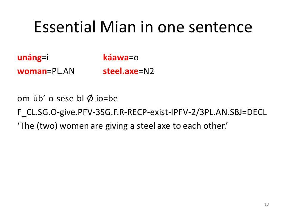 Essential Mian in one sentence unáng=i káawa=o woman=PL.ANsteel.axe=N2 om-ûb-o-sese-bl-Ø-io=be F_CL.SG.O-give.PFV-3SG.F.R-RECP-exist-IPFV-2/3PL.AN.SBJ