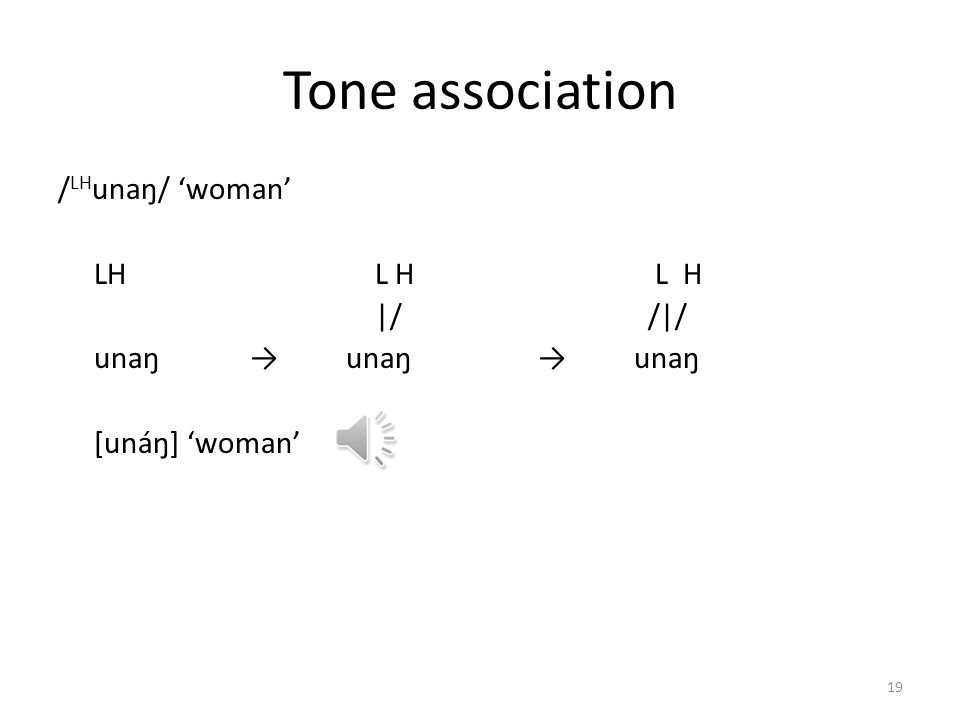 Tone in Mian Only a few of the logically possible tonal melodies occur in mono- and polysyllabic words – L (low), e.g. am house, ibal dust; fu cook (v