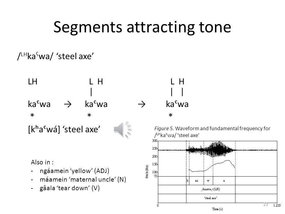 Segments attracting tone / LH ka ʕ wa/ steel axe LH L H L H       kaˤwa kaˤwa kaˤwa * * * [kʰaˤwá] steel axe Figure 5. Waveform and fundamental freque