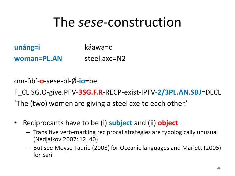 The sese-construction unáng=i káawa=o woman=PL.ANsteel.axe=N2 om-ûb-o-sese-bl-Ø-io=be F_CL.SG.O-give.PFV-3SG.F.R-RECP-exist-IPFV-2/3PL.AN.SBJ=DECL The