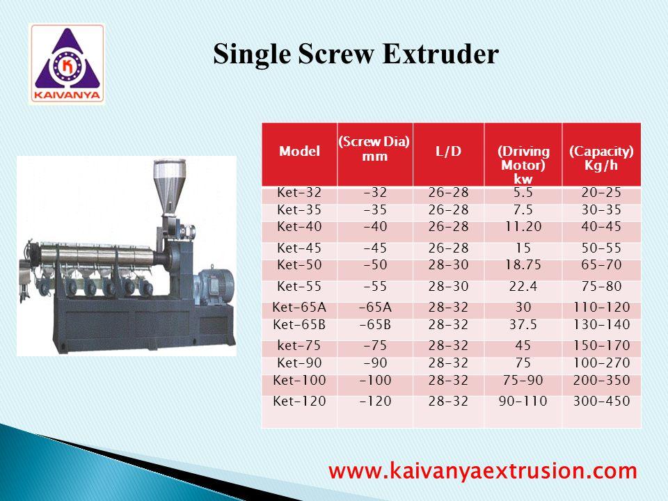 Single Screw Extruder Model (Screw Dia) mm L/D (Driving Motor) kw (Capacity) Kg/h Ket-32-3226-285.520-25 Ket-35-3526-287.530-35 Ket-40-4026-2811.2040-
