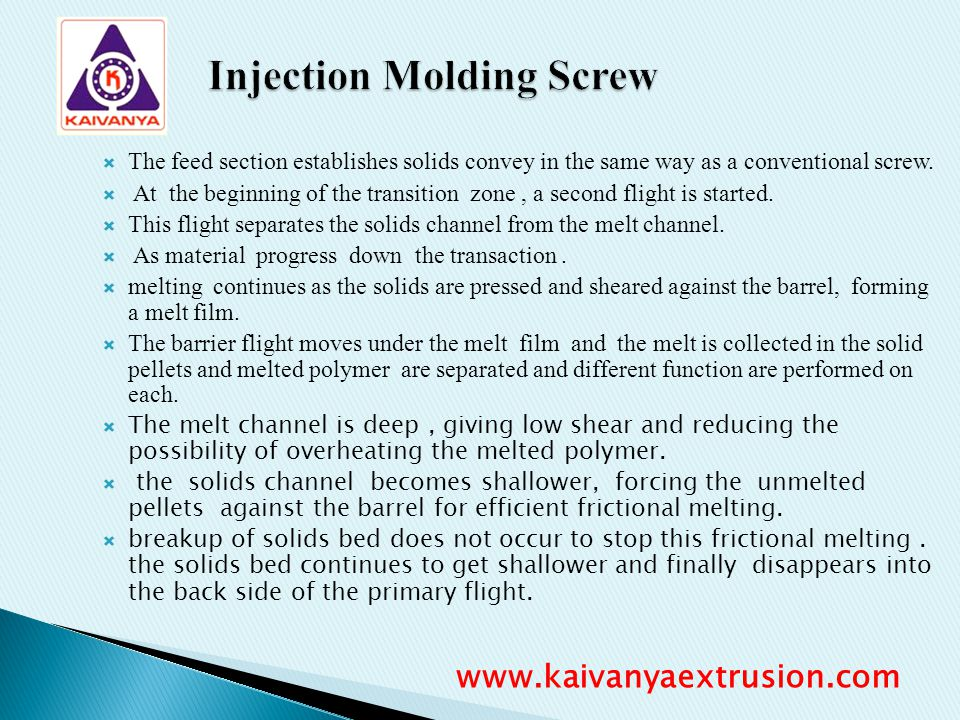The feed section establishes solids convey in the same way as a conventional screw. At the beginning of the transition zone, a second flight is starte