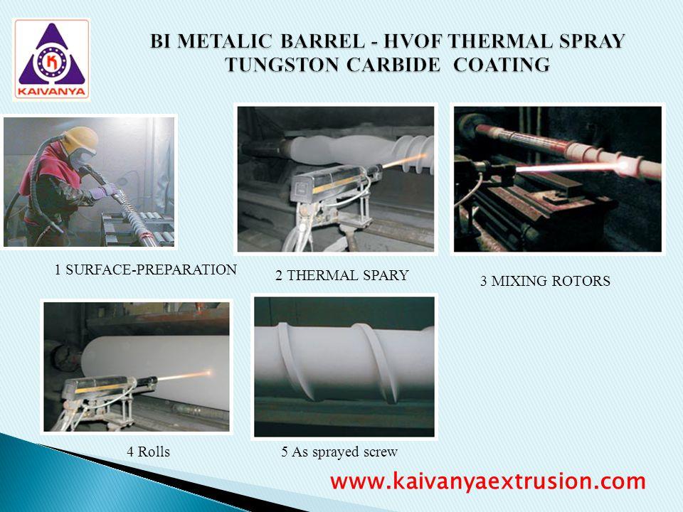 BI METALIC BARREL - HVOF THERMAL SPRAY TUNGSTON CARBIDE COATING 1 SURFACE-PREPARATION 2 THERMAL SPARY 3 MIXING ROTORS 4 Rolls5 As sprayed screw www.ka