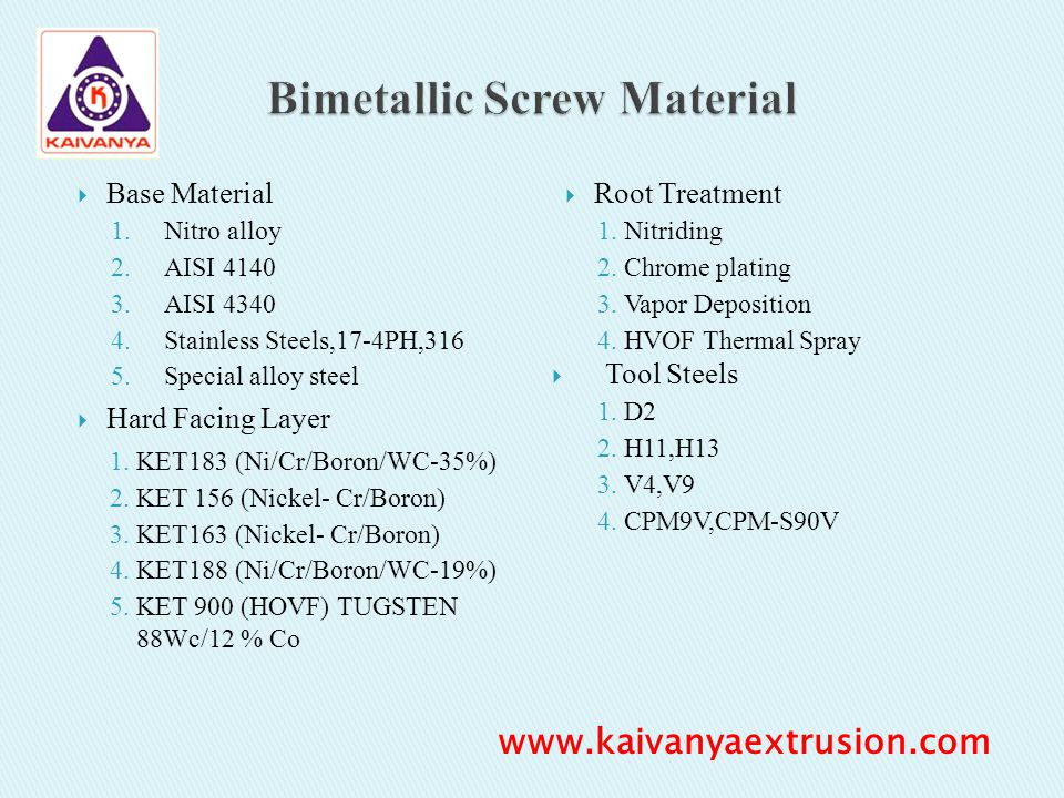 Base Material 1.Nitro alloy 2.AISI 4140 3.AISI 4340 4.Stainless Steels,17-4PH,316 5.Special alloy steel Hard Facing Layer 1.KET183 (Ni/Cr/Boron/WC-35%