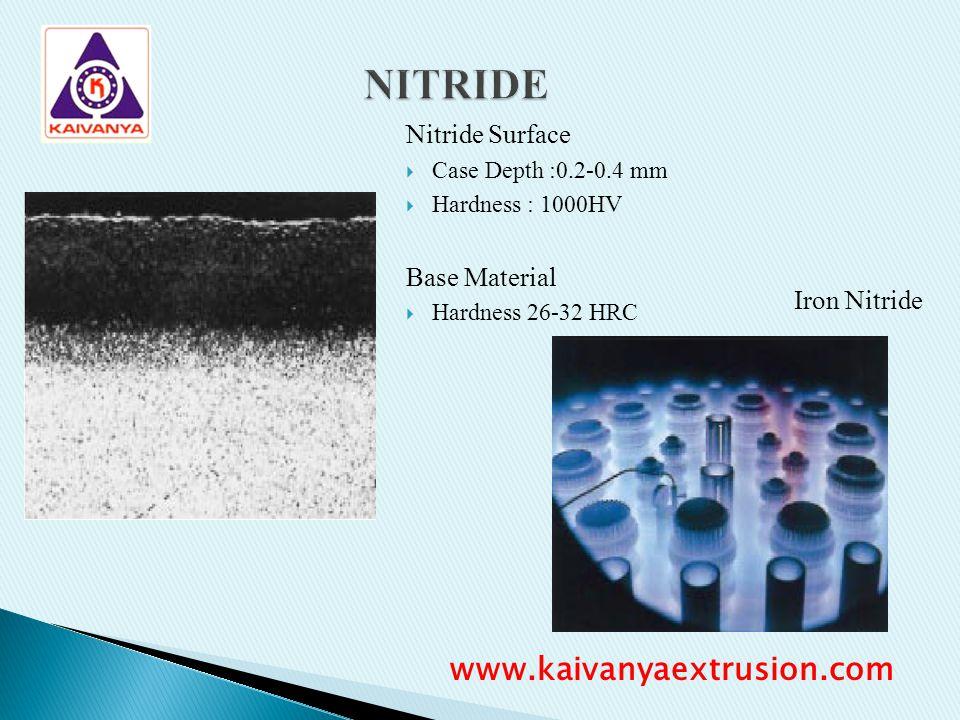 Nitride Surface Case Depth :0.2-0.4 mm Hardness : 1000HV Base Material Hardness 26-32 HRC Iron Nitride www.kaivanyaextrusion.com