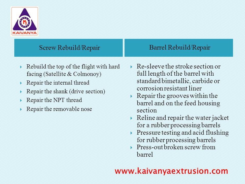 Screw Rebuild/Repair Barrel Rebuild/Repair Rebuild the top of the flight with hard facing (Satellite & Colmonoy) Repair the internal thread Repair the