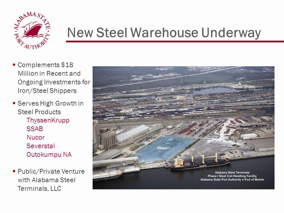 New Steel Warehouse Underway Complements $18 Million in Recent and Ongoing Investments for Iron/Steel Shippers Serves High Growth in Steel Products ThyssenKrupp SSAB Nucor Severstal Outokumpu NA Public/Private Venture with Alabama Steel Terminals, LLC
