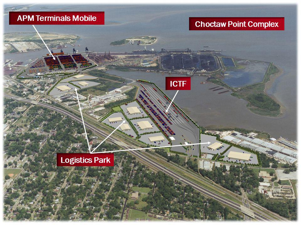 Future Ro/Ro Terminal Greenfield Project Located on Theodore Ship Channel Highway / Rail Served Phased Construction Phase I: Ship Berth with ~ 100 Acres Phase II: ~ 250 Additional Acres Market Study and Preliminary Engineering Underway