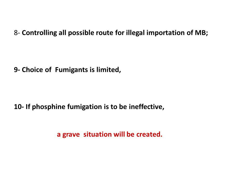 8- Controlling all possible route for illegal importation of MB; 9- Choice of Fumigants is limited, 10- If phosphine fumigation is to be ineffective, a grave situation will be created.