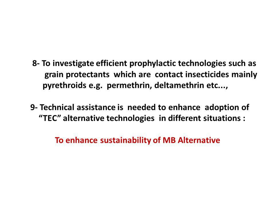 8- To investigate efficient prophylactic technologies such as grain protectants which are contact insecticides mainly pyrethroids e.g.