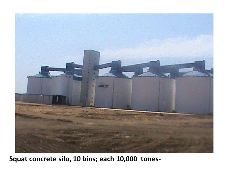 Squat concrete silo, 10 bins; each 10,000 tones-