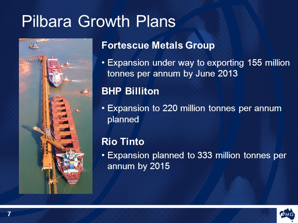 Fortescue Metals Group Expansion under way to exporting 155 million tonnes per annum by June 2013 BHP Billiton Expansion to 220 million tonnes per ann