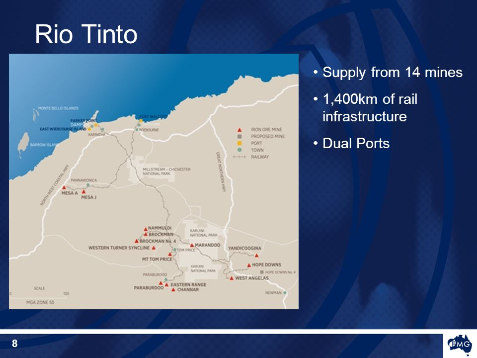 Supply from 14 mines 1,400km of rail infrastructure Dual Ports Rio Tinto 8