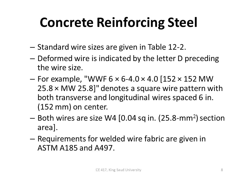 TABLE12-2: Steel wire data for welded wire fabric 9CE 417, King Saud University