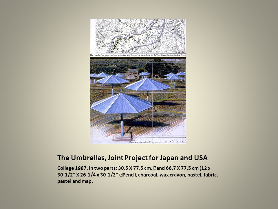 The Umbrellas, Joint Project for Japan and USA Collage 1987. In two parts: 30,5 X 77,5 cm, and 66,7 X 77,5 cm (12 x 30-1/2