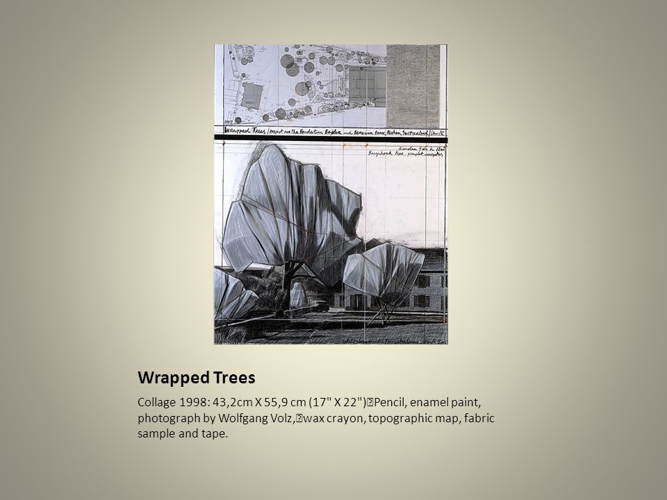 Wrapped Trees Collage 1998: 43,2cm X 55,9 cm (17 X 22 ) Pencil, enamel paint, photograph by Wolfgang Volz, wax crayon, topographic map, fabric sample and tape.