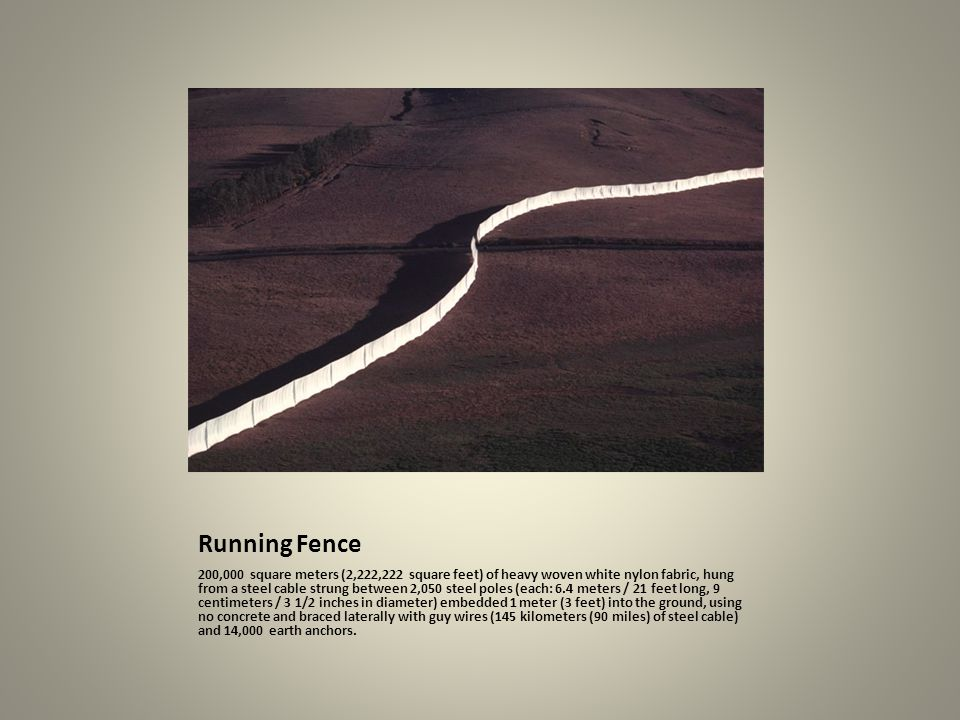 Running Fence 200,000 square meters (2,222,222 square feet) of heavy woven white nylon fabric, hung from a steel cable strung between 2,050 steel pole