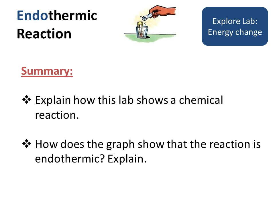 Endothermic Reaction Explore Lab: Energy change Summary: Explain how this lab shows a chemical reaction.