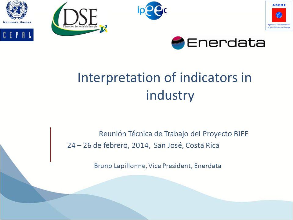 Interpretation of indicators in industry Bruno Lapillonne, Vice President, Enerdata Reunión Técnica de Trabajo del Proyecto BIEE 24 – 26 de febrero, 2014, San José, Costa Rica