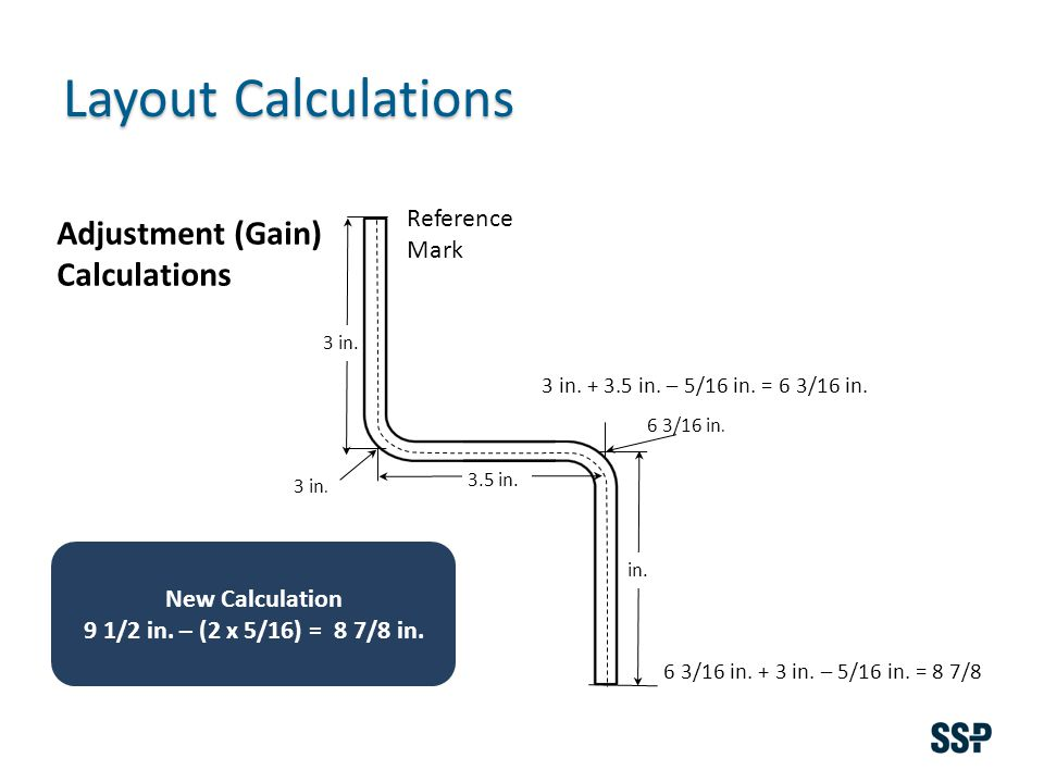 Layout Calculations Reference Mark 3 in. 6 3/16 in. 3 in. in. Adjustment (Gain) Calculations 3 in. + 3.5 in. – 5/16 in. = 6 3/16 in. 6 3/16 in. + 3 in
