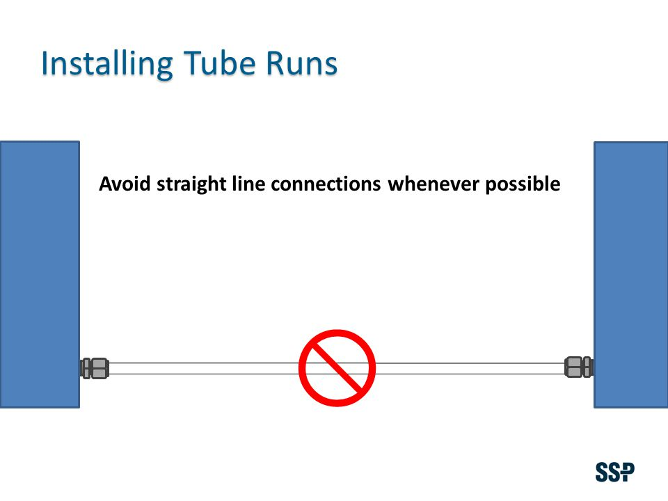 Installing Tube Runs Avoid straight line connections whenever possible