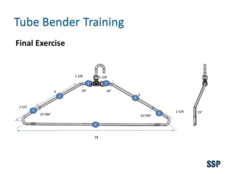 Tube Bender Training 1 3/8 6 18 6 150° 15°/90° 30° 15° 2 3/4 2 1/2 Final Exercise 1 2 3 4 5 6 7