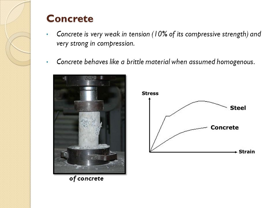 Concrete Concrete is very weak in tension (10% of its compressive strength) and very strong in compression. Concrete behaves like a brittle material w