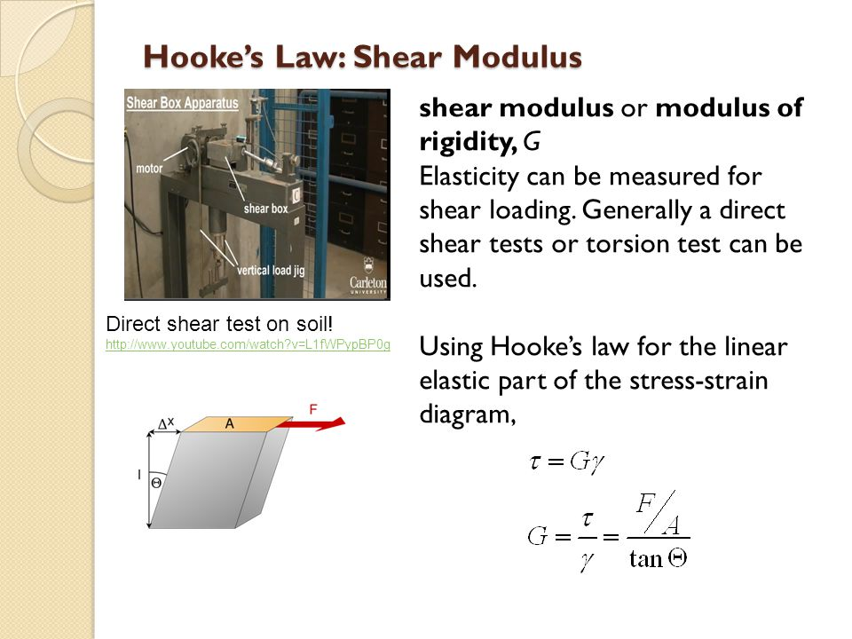Hookes Law: Shear Modulus shear modulus or modulus of rigidity, G Elasticity can be measured for shear loading. Generally a direct shear tests or tors
