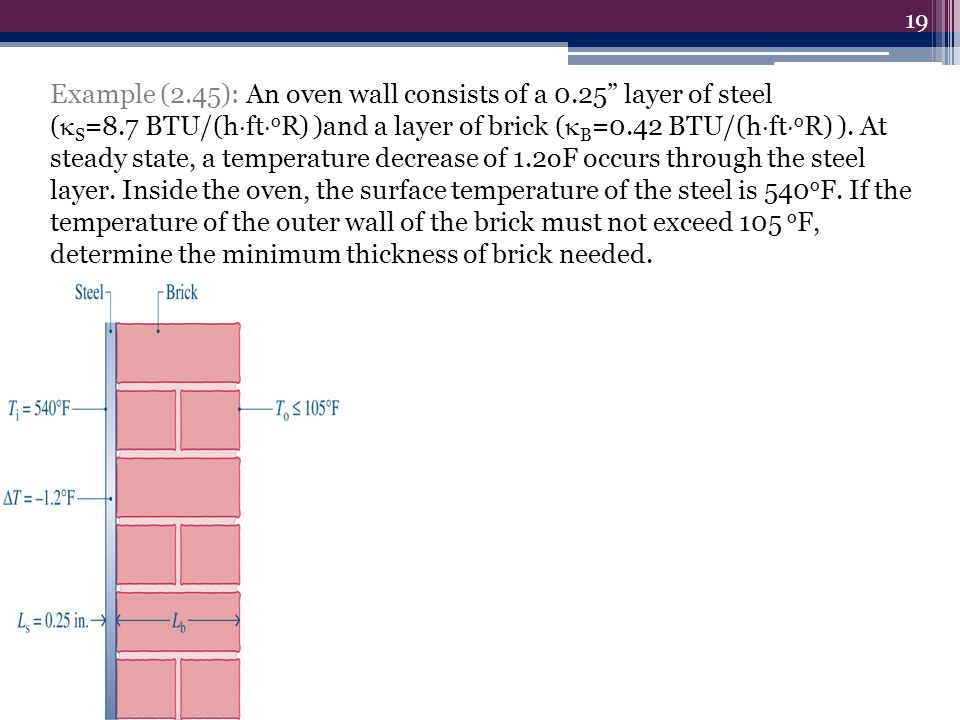 Example (2.45): An oven wall consists of a 0.25 layer of steel ( S =8.7 BTU/(h ft o R) )and a layer of brick ( B =0.42 BTU/(h ft o R) ). At steady sta