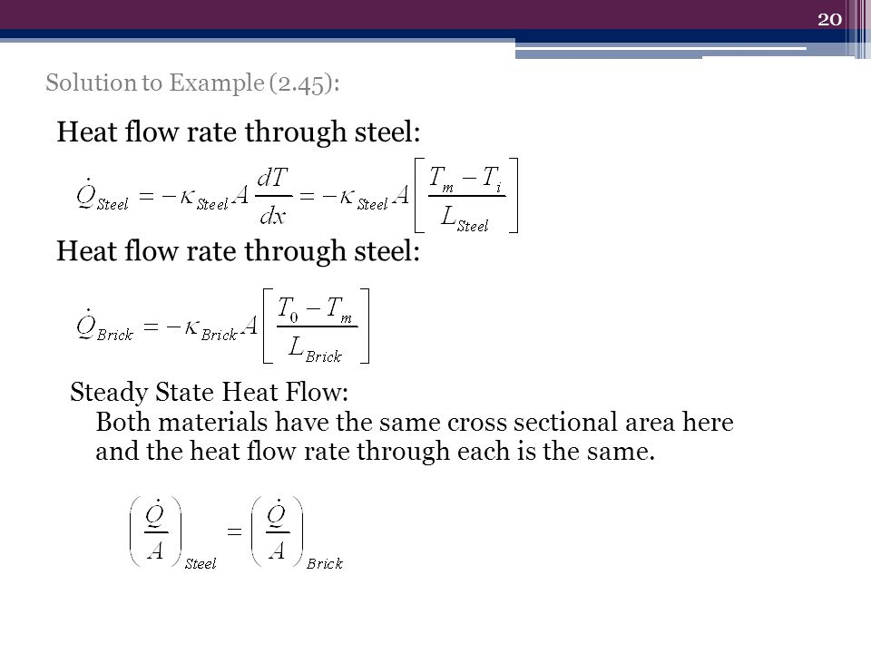Solution to Example (2.45): 20 Heat flow rate through steel: Steady State Heat Flow: Both materials have the same cross sectional area here and the he
