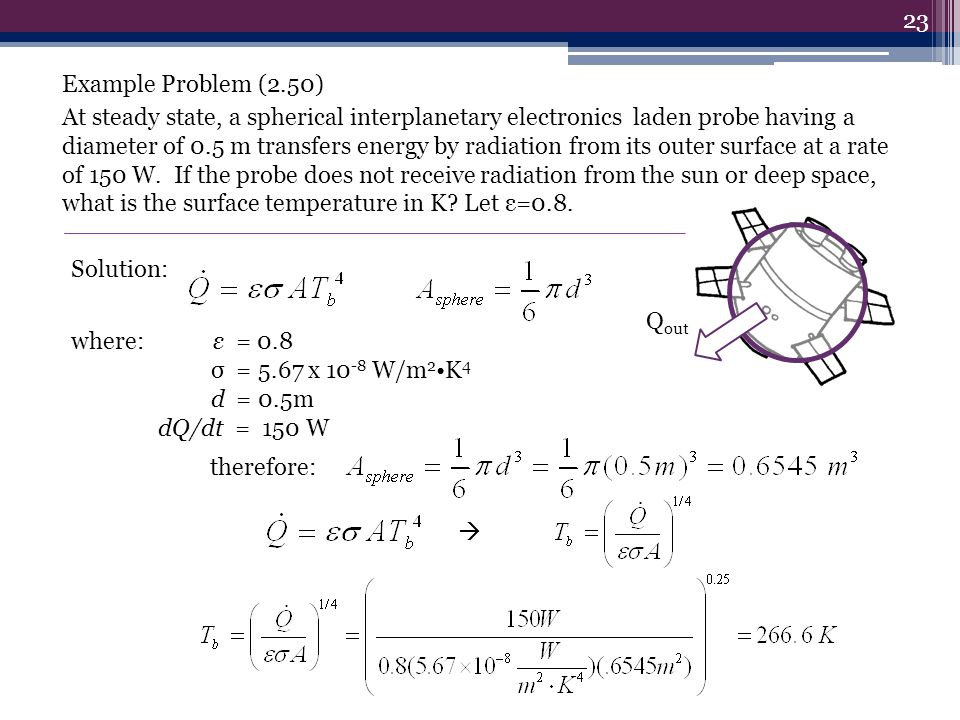 Example Problem (2.50) At steady state, a spherical interplanetary electronics laden probe having a diameter of 0.5 m transfers energy by radiation fr