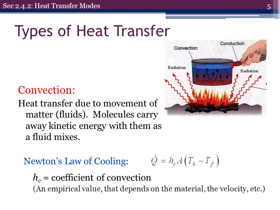 Types of Heat Transfer 5 Sec 2.4.2: Heat Transfer Modes Convection: Heat transfer due to movement of matter (fluids). Molecules carry away kinetic ene