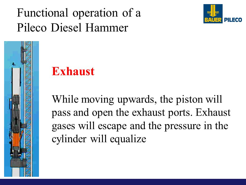 Functional operation of a Pileco Diesel Hammer Exhaust While moving upwards, the piston will pass and open the exhaust ports. Exhaust gases will escap