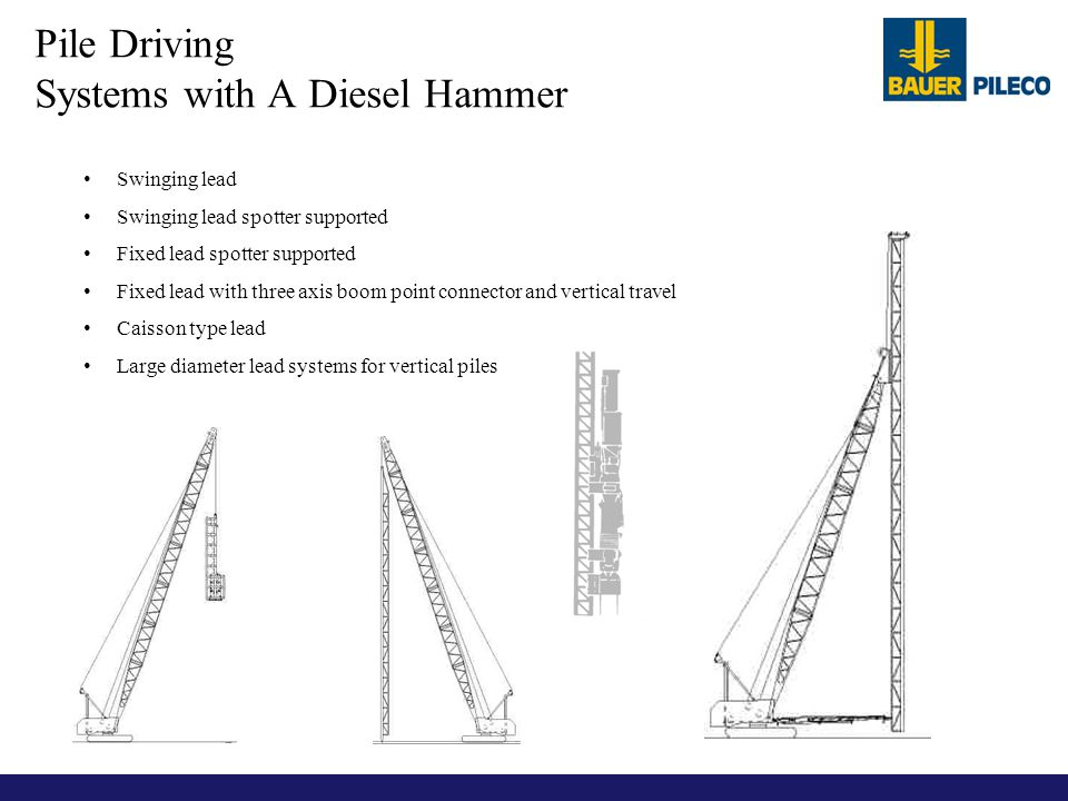 Pile Driving Systems with A Diesel Hammer Swinging lead Swinging lead spotter supported Fixed lead spotter supported Fixed lead with three axis boom p
