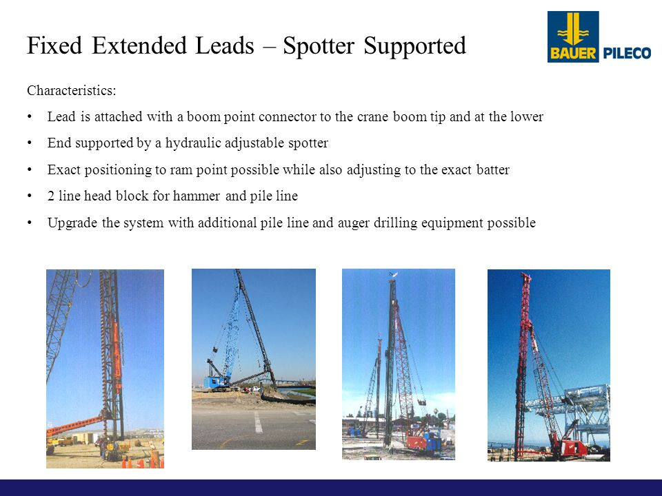 Characteristics: Lead is attached with a boom point connector to the crane boom tip and at the lower End supported by a hydraulic adjustable spotter E