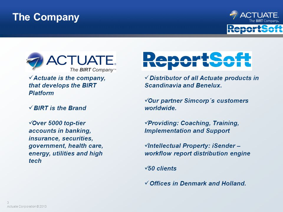 4 Actuate Corporation © 2013 Actuate/ReportSoft Customers