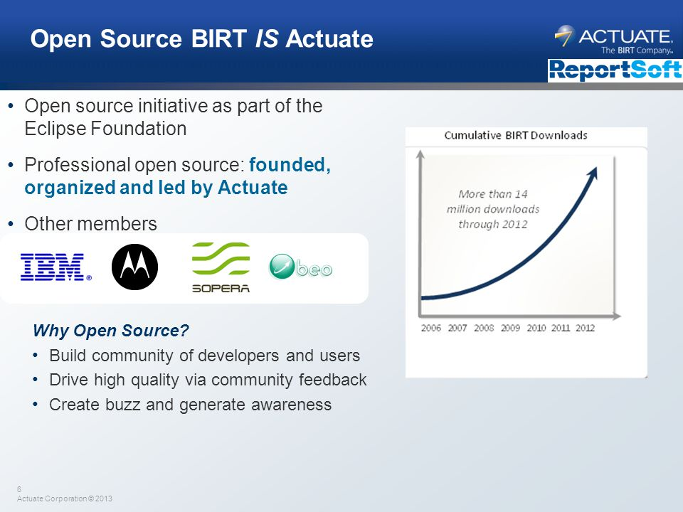 6 Actuate Corporation © 2013 Open Source BIRT IS Actuate Open source initiative as part of the Eclipse Foundation Professional open source: founded, o