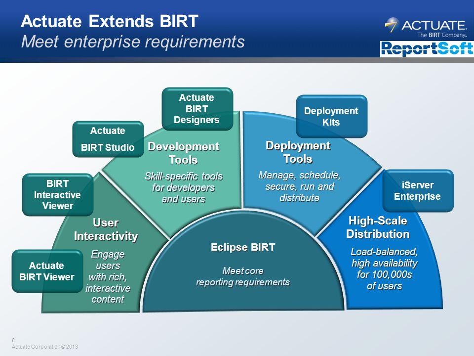 8 Actuate Corporation © 2013 Actuate Extends BIRT Meet enterprise requirements Deployment Tools High-Scale Distribution Development Tools User Interac