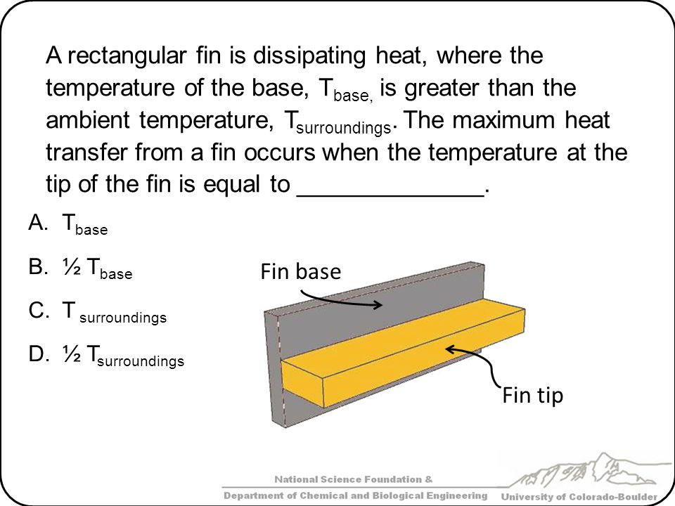 Fin tip Fin base A rectangular fin is dissipating heat, where the temperature of the base, T base, is greater than the ambient temperature, T surround