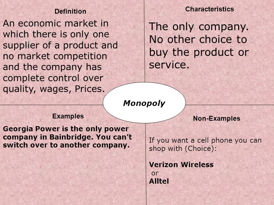 : Monopoly Definition Characteristics Examples Non-Examples An economic market in which there is only one supplier of a product and no market competit