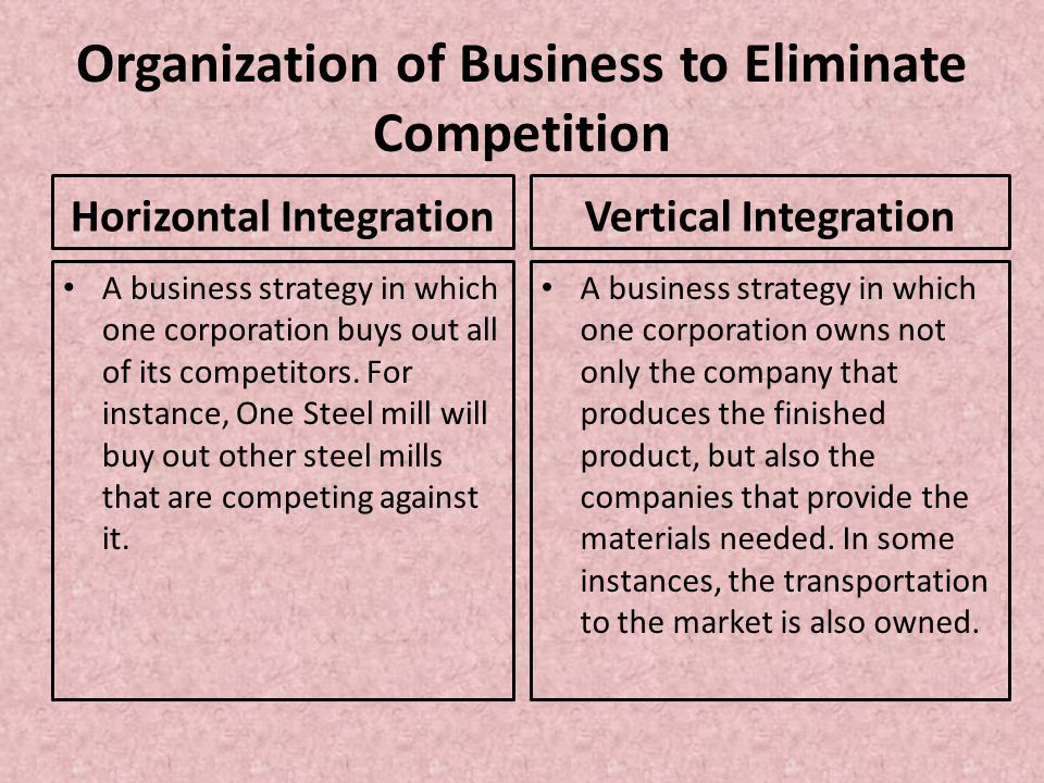 Organization of Business to Eliminate Competition Horizontal Integration A business strategy in which one corporation buys out all of its competitors.