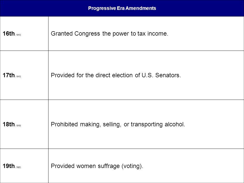 Progressive Era Amendments 16th (1913) Granted Congress the power to tax income. 17th (1913) Provided for the direct election of U.S. Senators. 18th (