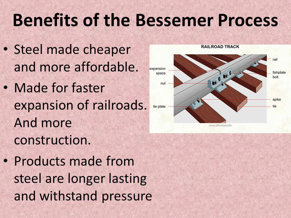 Benefits of the Bessemer Process Steel made cheaper and more affordable. Made for faster expansion of railroads. And more construction. Products made
